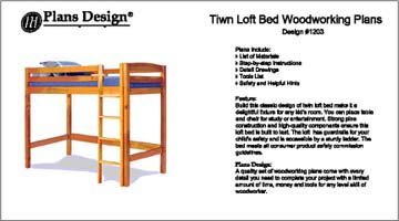 Classic Twin Loft / Bunk Bed Furniture Woodworking Project Plans - Design #11203