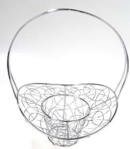 Cesta para bicicleta/colgantes con forma de cesta de flores de metal plateado Diseño elegante elemento decorativo boda bodas cesta