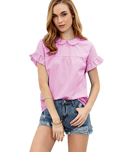 [SheIn Women's Cute Striped Peter Pan Collar Short Sleeve Babydoll Blouse Top Medium Pink] (Pink Stripe Shirt)