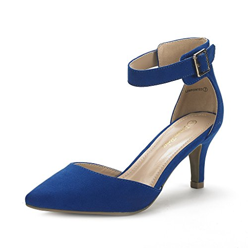 (DREAM PAIRS Women's Lowpointed Royal Blue Low Heel Dress Pump Shoes - 6 M US)