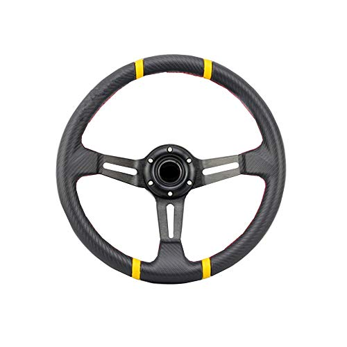 14 350mm Aluminum Sport Race Racing Steering Wheel With Horn Button PU Black/&White Frame Color
