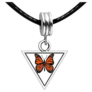 Chicforest Silver Plated Beautiful Lovely Butterfly Photo Triangle Charm Beads Bracelets European Bracelets Compatible