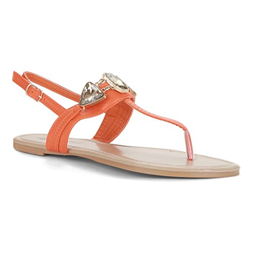 Twisted Women's Daisy Faux Leather Gemstone Ankle Strap Sandals - ORANGE, Size 8