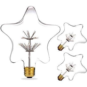 DORESshop Vintage Decor Edison Bulbs, 3W Antique LED Light Bulb, 2700K Warm White(Amber Glow)30W Equivalent, Non-dimmable, 300LM, E26 Base Star Pentagram ...