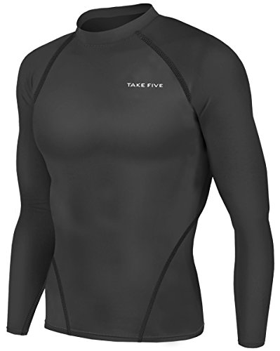 Skin Long Sleeve Compression Shirt (New Men Sports Apparel Long Sleeves Shirts Skin Tights Compression Base Under Layer Top (L, NT001 BLACK))