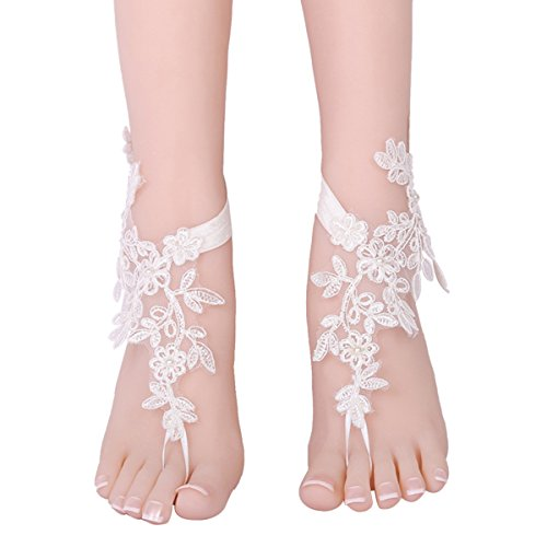 OURIZE Bridal Crochet Barefoot Sandals Lace Anklets Bench Wedding Prom Party Bangles (D)