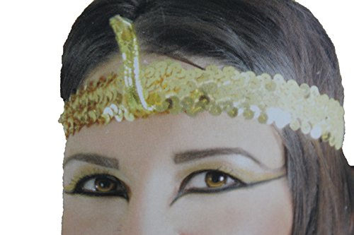 Punk Rock Costumes Party City (TFJ Women Head Piece Halloween Gold Sequins Elastic Band Queen Cleopatra Snake Charm Party)
