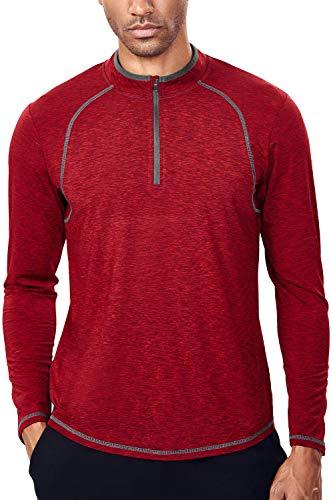 Tech Quarter Zip Pullover Running Shirt Men Dry Fit Zip T Shirt(XL, Dark Red & Grey)