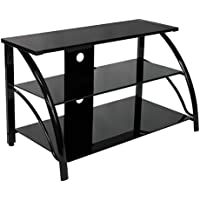 Calico Designs 60625 Stilletto TV Stand, 37.25-Inch Width by 18.5-Inch Depth by 22-Inch Height, Black with Black Glass