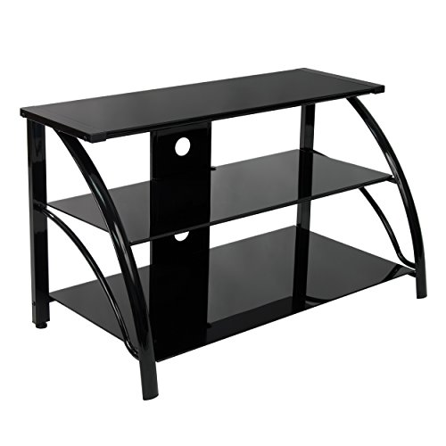(Calico Designs 60625 Stiletto TV Stand, 37.25-Inch Width by 18.5-Inch Depth by 22-Inch Height, Black with Black Glass)