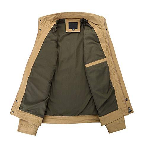 0f3c6d7fe730bf Cappotto Lungo Elegante Uomo Lunga Caldo Outwear Cerniera uomini Giacca  Cachi Tattico Vincitore Manica Camicetta Militare ...