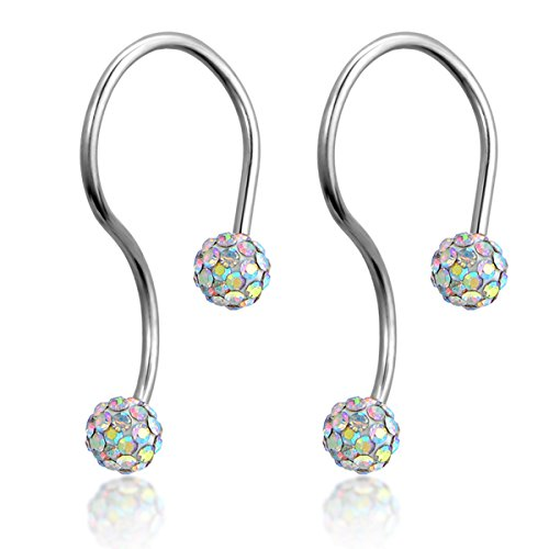 Flongo Rhinestone Stainless Infinity Earrings