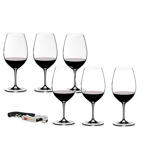 Riedel Vinum Leaded Crystal Syrah/Shiraz 6 Piece Wine Glass Set with Bonus BigKitchen Waiter's Corkscrew ()