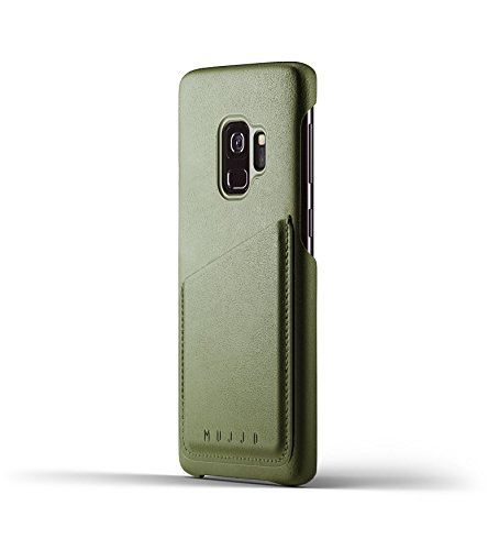 Samsung Galaxy S9 leather wallet case [Genuine Leather Samsung S9 Wallet Case] MUJJO FULL LEATHER WALLET Leather Wrapped, Japan Suede Interior, 2-3 Card Pocket, Wireless Charging, 2 YR Warranty, Olive - Olive Microfiber Overall