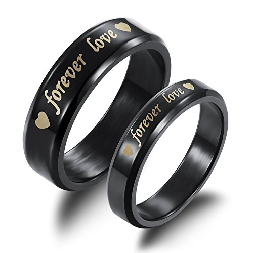 Fate Love Titanium Steel Black 'Forever Love' Double Heart Couples Promise Ring Romantic Couples Gift