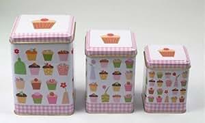 Menaje-Del-Hogar - Bote de cocina cuadrado cupcakes juego de 3