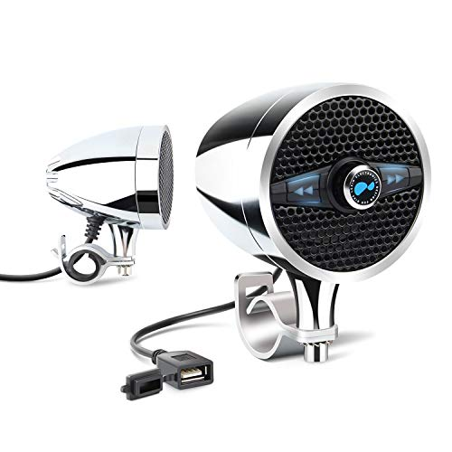 Motorcycle bluetooth speakers with FM Radio External antenna, Weatherproof Motorcycle audio systems with USB port for charging fit 7/8'' to 1.25'' Handlebar, Music Player, Two 3 Inch Chrome Speakers