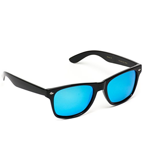 fb13f49dab5 Polarized Flat Mirrored Reflective Color Lens Large Horn Rimmed Style  Sunglasses