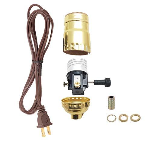 B&P Lamp Brass Plated Socket, Brown Cord Set
