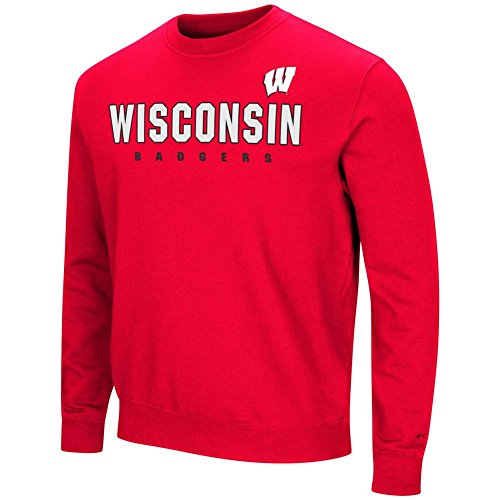 Colosseum University of Wisconsin Badgers Sweatshirt Playbook Crew Neck Fleece ()