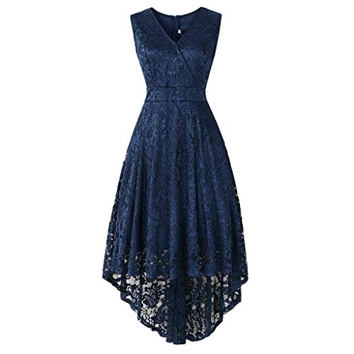 (URIBAKE ♥️ Women's Vintage Lace Dress V-Neck Sleeveless Solid Spring Country Rock Cocktail Dress Navy)