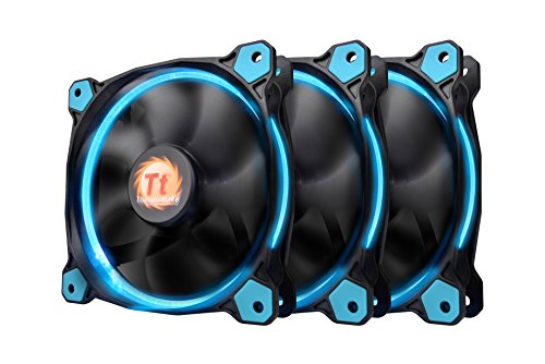 Thermaltake Riing 12 High Static Pressure Circular Ring Blue LED Case/Radiator Fan with Anti-Vibration Mounting System Triple Pack Cooling CL-F055-PL12BU-A by Thermaltake