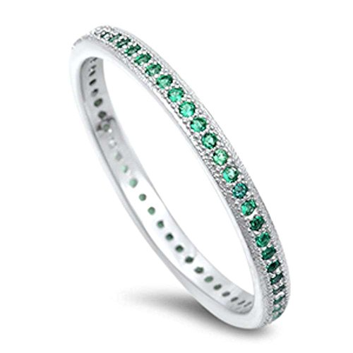 Blue Apple Co. Eternity Wedding Engagement Band Ring Round Simulated Green Emerald 925 Sterling Silver