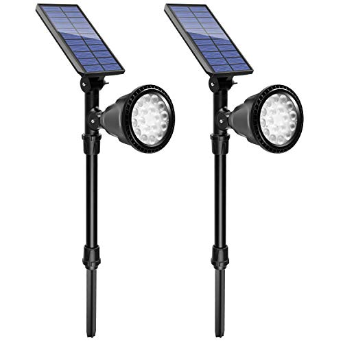 Urlitoy Solar Spotlights Outdoor, Waterproof High Lumen Solar Powered 18 LED Lights, 2-in-1 Functions Fixed or Insert- Ideal for Pathway, Walkway, Patio, Yard, Garden and Landscape (2 Packs,600LM) Review