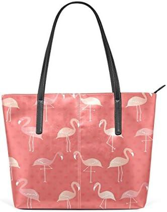 Flamingo Flocking Large Leather Tote Bag