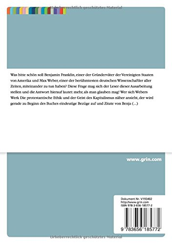 Benjamin Franklin Die Frühen Usa Und Der Bezug Zu Max Weber