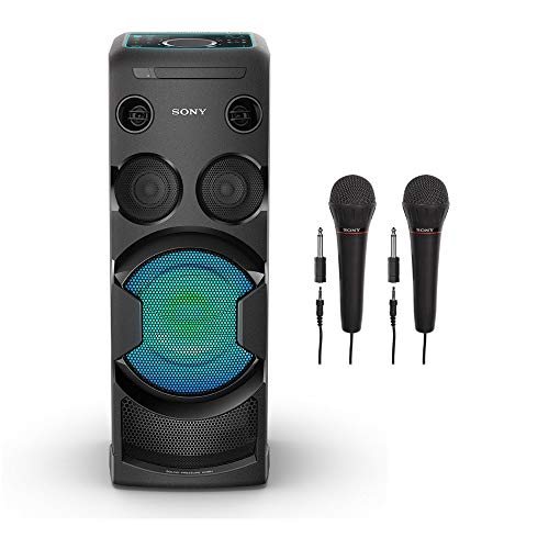 (Sony MHC-V50 High-Power Home Audio System (Bluetooth, Karaoke, LED Touch Panel, NFC, Guitar Input, and Motion Control) Plus 2 Bonus Sony Mics)