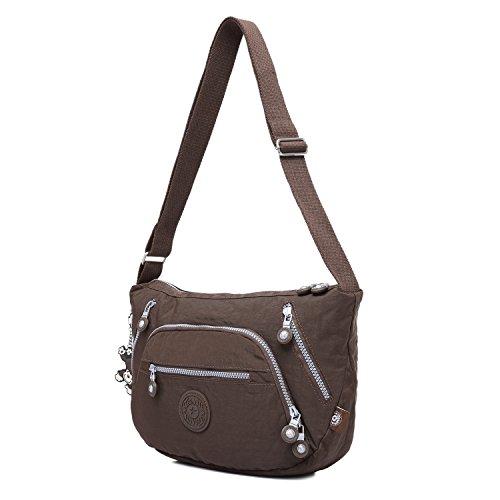 Foino Schultertasche Damen Sporttasche Lässige Umhängetasche Leicht Seitentasche Mode Kuriertasche Design Reisetasche Vintage Taschen Büchertasche Messenger Bag für Mädchen Braun