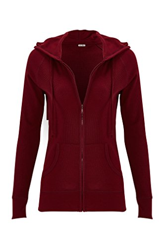 Instar Mode Women's Simple Zip Front Drawstring Thermal Hoodie (Burgundy, Medium)