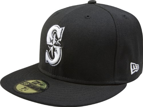 fan products of MLB Seattle Mariners Black with White 59FIFTY Fitted Cap, 7 5/8