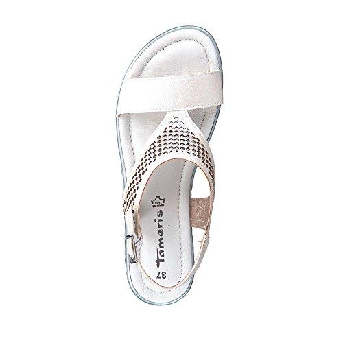und 20 Sandale Damen Weiß Riemchen 28713 Lederimitat modische aus Gummizug Tamaris pO8Z5n6x