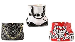 Gift Craft 3.3-Inch Polystone Purse Design Tea Light Holders, Small, 3-Pack