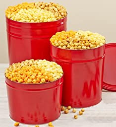 Simply Red Popcorn Tins - 2 Gallon 3-Flavor