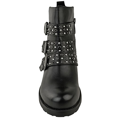 Size Fashion Leather Studded Thirsty Chunky Womens Heel Low Faux Strappy Buckle Black Boots Ankle ZqHSwZv