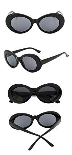Chezi Plastic Bold Oval Frame Novelty Goggle Eye Round Sunglasses (black+grey) -