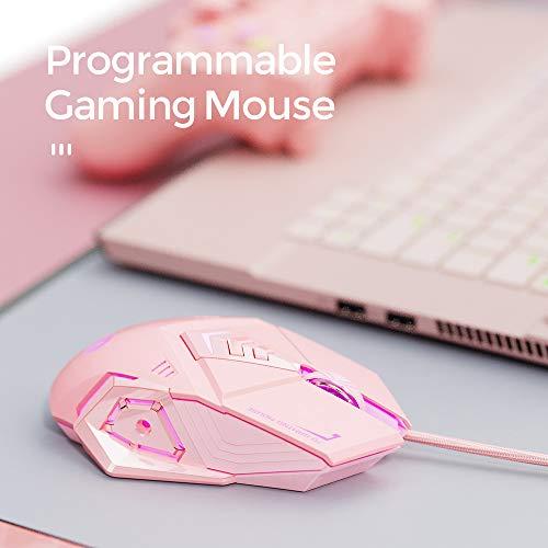 INPHIC Mouse da Gioco Cablato, Gioco ergonomico Mouse per Computer USB Mouse RGB Gamer Desktop Laptop PC Mouse da Gioco, 7 Pulsanti programmabili per Windows 7/8/10/10 XP Vista Linux (Rosa)