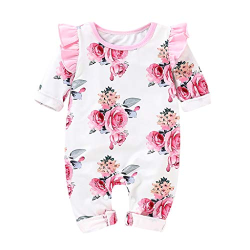 Kehen Infant Baby Toddler Girl Boy Spring Clothes Cotton Pajamas Long Sleeve Flower Print Romper Jumpsuit Pink 3-6 Months