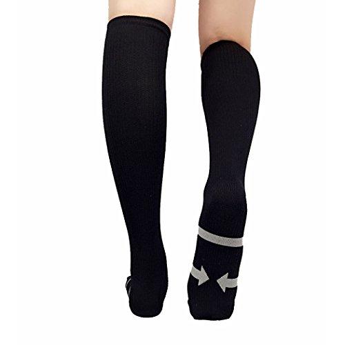 VENI MASEE Compression Flight Socks [20-30 mmHg][Athletic Unisex Running Socks][Pack Of 1pair]Suits Nurses.Maternity Pregnancy.Athlete for Running.Flight Travel(Pack of 1 Pair) Black VWNilDoIT8