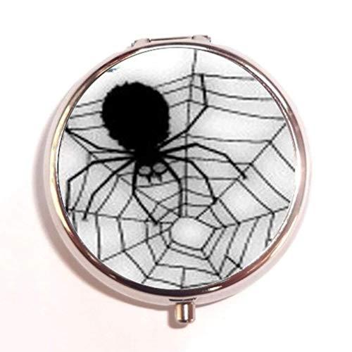 Halloween Black Widow Spider Web Unique Silver Round Pill Box Medicine Tablet Organizer or Coin -
