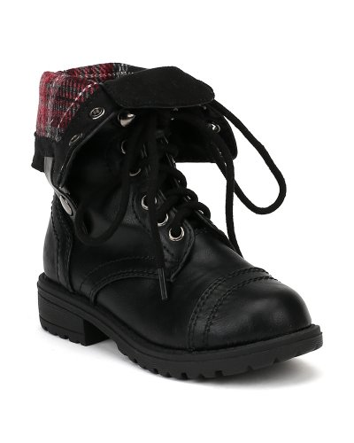 Happy Soda Oralee-2S Leatherette Lace Flannel Fold Cuff Military Boot (Toddler/Little Girl/Big Girl) AF00 - Black (Size: Little Kid 11) ()