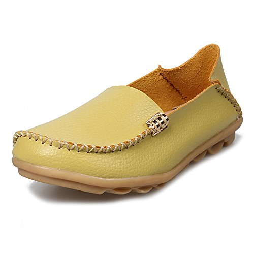 LINGTOM Women's Genuine Leather Loafers Casual Moccasin Shoes Flat Driving Slip-On Shoes Slippers Green lrXXa