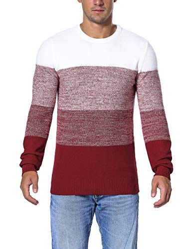- Rocorose Men's Striped Cashmere Sweater Tunic Knit Contrast Color Block Red XL