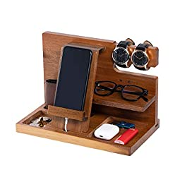 WUTCRFT – Wooden Phone Docking Station/Bedside Nightstand Organizer with Watch, Glasses, Wallet and Accessories Holder…
