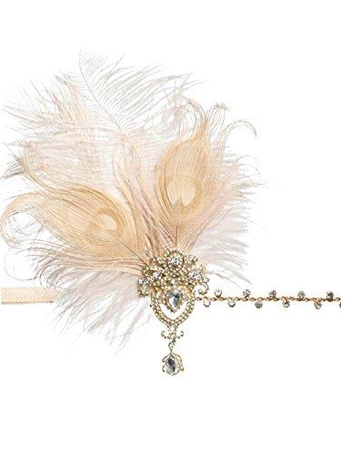 Gatsby Feather Headpiece Flapper Leaf Pearl Headband Roaring 20s Wedding Headpiece (Y-Pink) by Zivyes