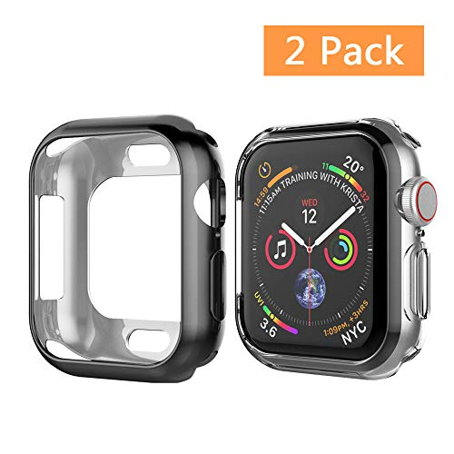 UMTELE Case Compatible for Apple Watch 4 2018 44mm, Soft TPU Case Anti Scratch Protector Bumper Cover Compatible Apple Watch Series 4, 2 Pack - 44mm
