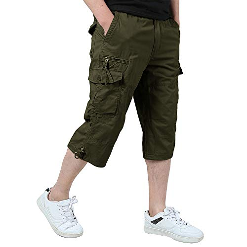 EKLENTSON Men's 3/4 Pants Cargo Work Utility Hiking Camping Long Capri Shorts Olive Green ()